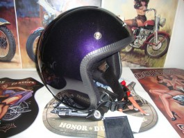 Capacete Old School Purple com Frisos Cromados