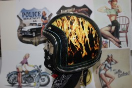 Capacete Old School Personalizado Modelo Exclusivo Flame